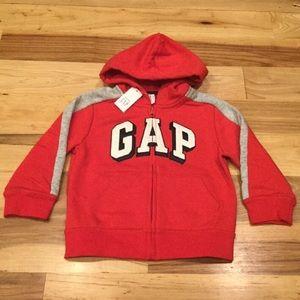 Gap Boy 2T or 3T Red Logo ZIP-Up Hoodie Sweatshirt